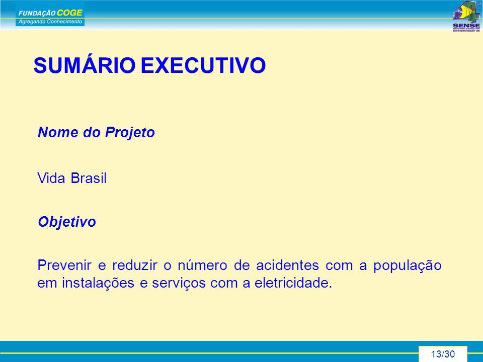 13/30 Nome do Projeto Vida Brasil Objetivo Prevenir e reduzir o número de acidentes com a população em instalações e serviços com a eletricidade.