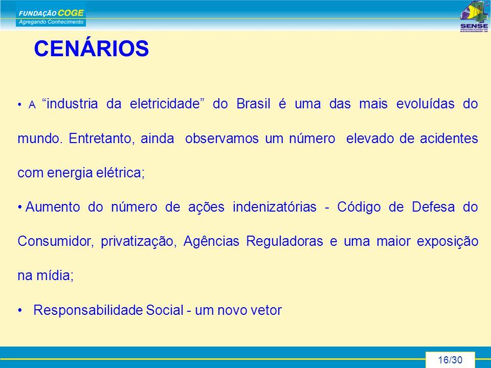 16/30 CENÁRIOS A industria da eletricidade do Brasil é uma das mais evoluídas do mundo.
