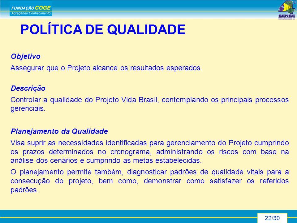 22/30 POLÍTICA DE QUALIDADE Objetivo Assegurar que o Projeto alcance os resultados esperados.