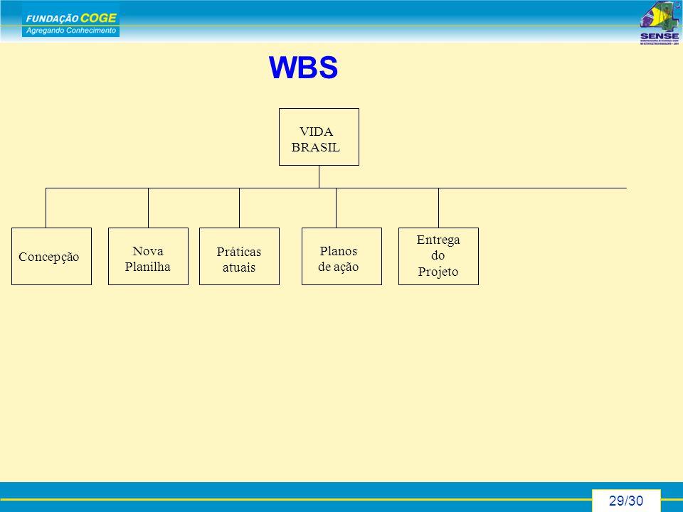 29/30 WBS Concepção Nova Planilha Práticas atuais Planos de ação Entrega do Projeto VIDA BRASIL