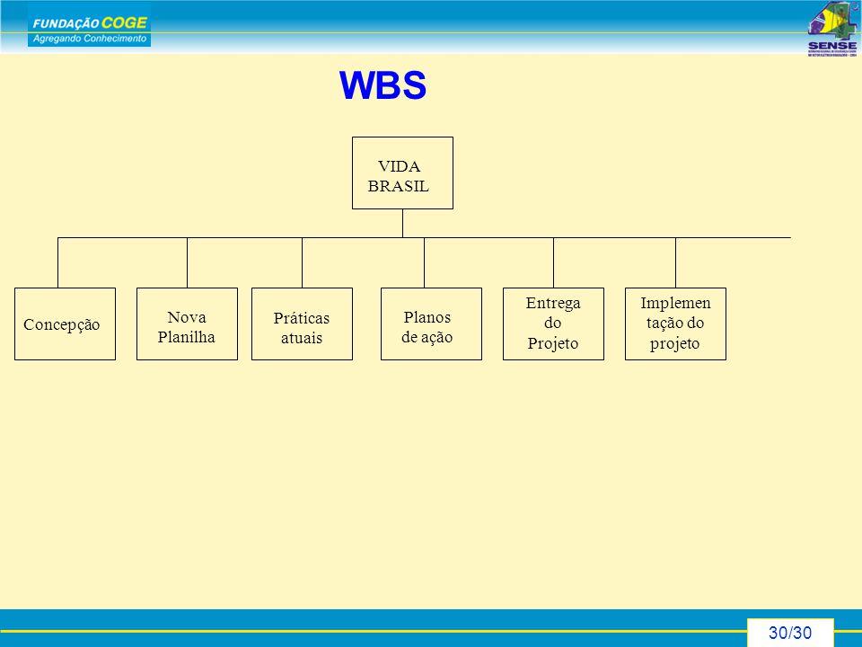 30/30 WBS Concepção Nova Planilha Práticas atuais Planos de ação Entrega do Projeto Implemen tação do projeto VIDA BRASIL