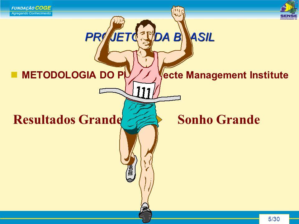 5/30 PROJETO VIDA BRASIL METODOLOGIA DO PMI - Projecte Management Institute Sonho GrandeResultados Grandes