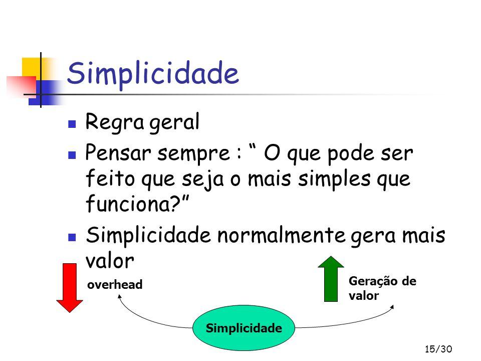 """15/30 Simplicidade Regra geral Pensar sempre : """" O que pode ser feito que seja o mais simples que funciona?"""" Simplicidade normalmente gera mais valor"""