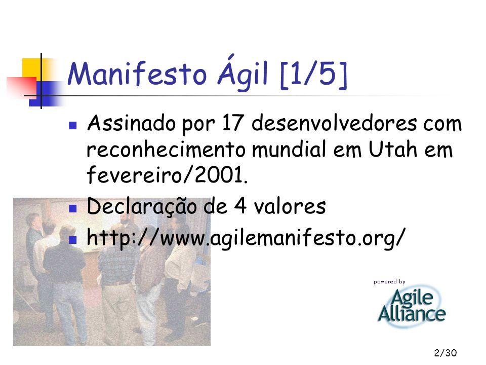 2/30 Manifesto Ágil [1/5] Assinado por 17 desenvolvedores com reconhecimento mundial em Utah em fevereiro/2001. Declaração de 4 valores http://www.agi