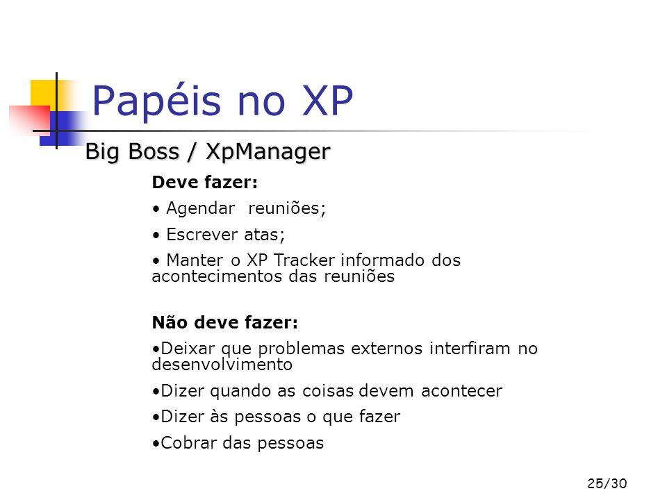25/30 Papéis no XP Big Boss / XpManager Deve fazer: Agendar reuniões; Escrever atas; Manter o XP Tracker informado dos acontecimentos das reuniões Não