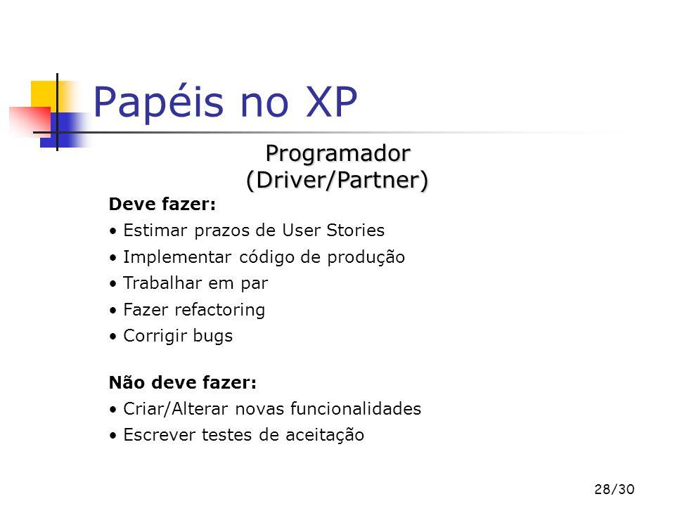 28/30 Papéis no XP Deve fazer: Estimar prazos de User Stories Implementar código de produção Trabalhar em par Fazer refactoring Corrigir bugs Não deve