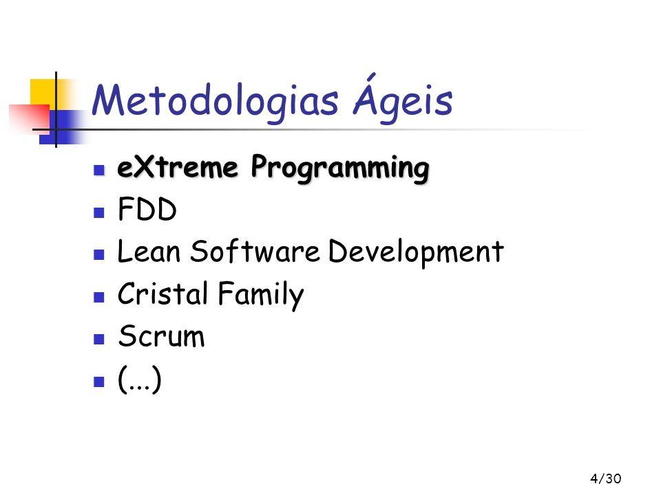 4/30 Metodologias Ágeis eXtreme Programming eXtreme Programming FDD Lean Software Development Cristal Family Scrum (...)