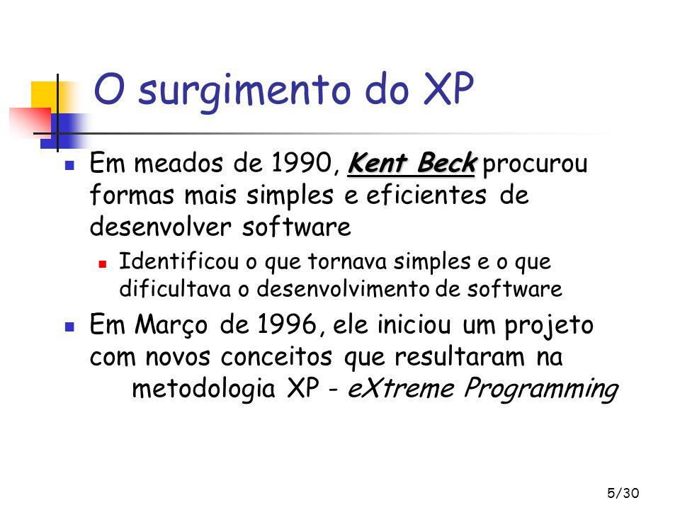 5/30 Kent Beck Em meados de 1990, Kent Beck procurou formas mais simples e eficientes de desenvolver software Identificou o que tornava simples e o qu