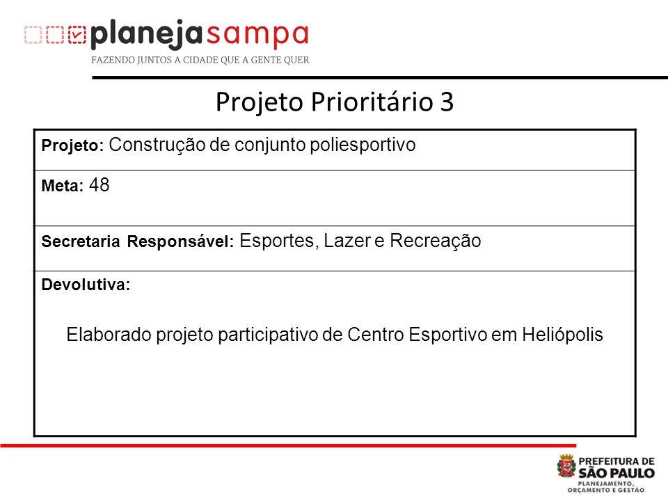 Projeto Prioritário 3 Projeto: Construção de conjunto poliesportivo Meta: 48 Secretaria Responsável: Esportes, Lazer e Recreação Devolutiva: Elaborado projeto participativo de Centro Esportivo em Heliópolis