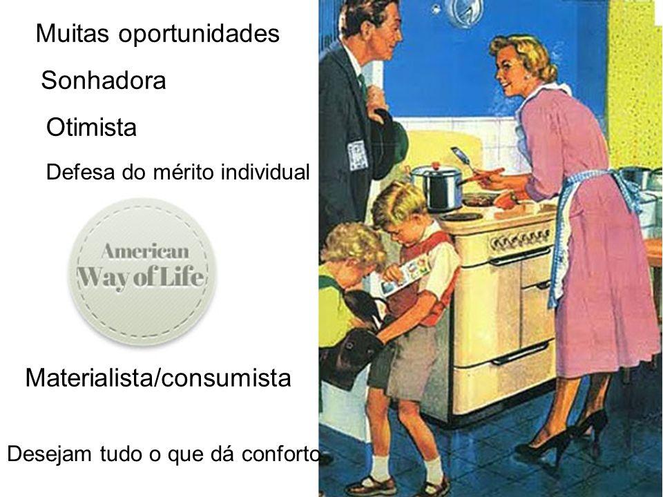 Desejam tudo o que dá conforto Materialista/consumista Muitas oportunidades Sonhadora Otimista Defesa do mérito individual