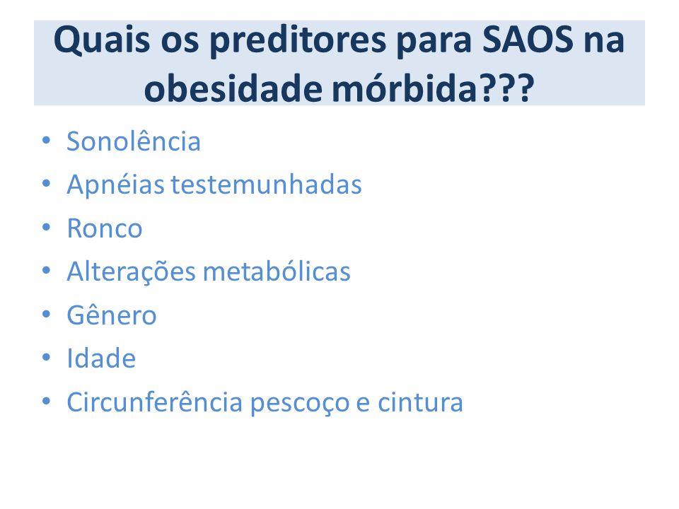 Quais os preditores para SAOS na obesidade mórbida??? Sonolência Apnéias testemunhadas Ronco Alterações metabólicas Gênero Idade Circunferência pescoç