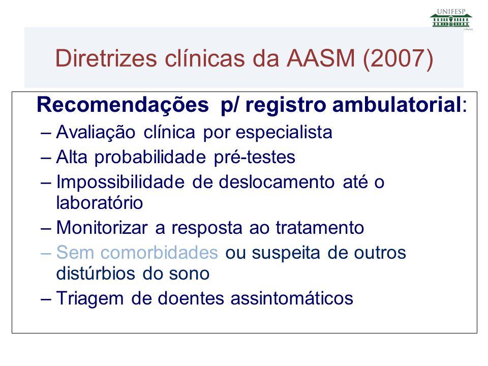 Recomendações p/ registro ambulatorial: –Avaliação clínica por especialista –Alta probabilidade pré-testes –Impossibilidade de deslocamento até o labo