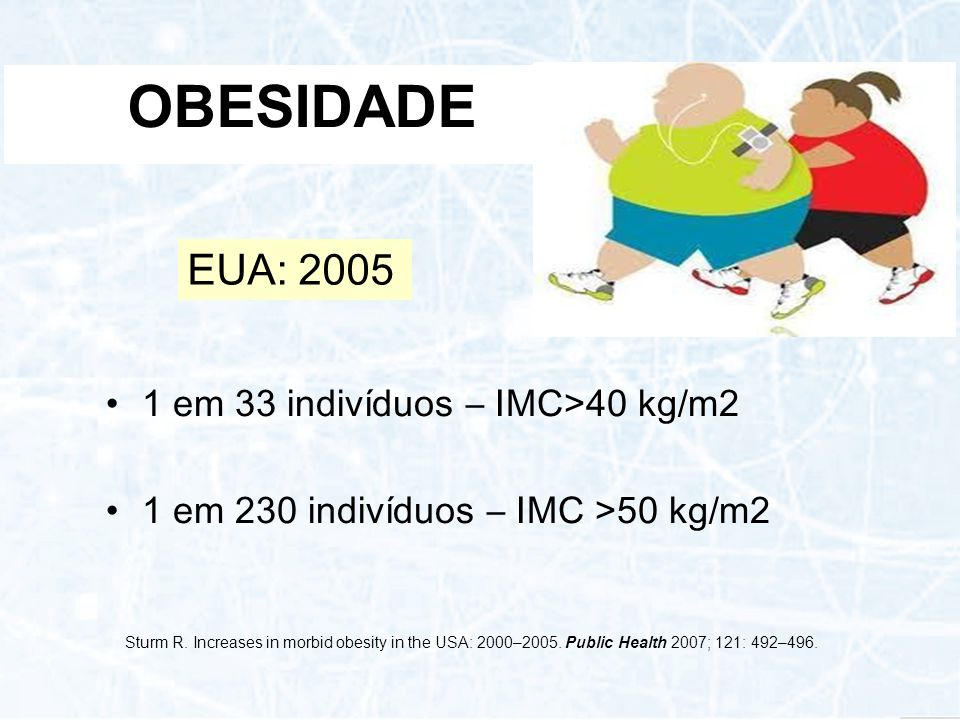 OBESIDADE 1 em 33 indivíduos – IMC>40 kg/m2 1 em 230 indivíduos – IMC >50 kg/m2 EUA: 2005 Sturm R. Increases in morbid obesity in the USA: 2000–2005.