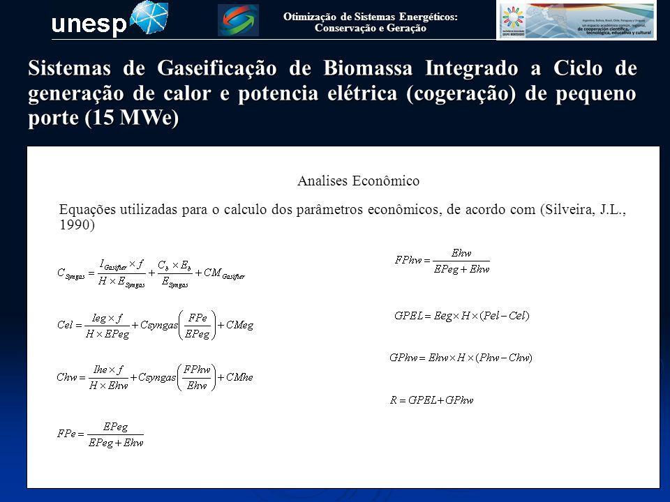 Otimização de Sistemas Energéticos: Conservação e Geração Analises Econômico Equações utilizadas para o calculo dos parâmetros econômicos, de acordo c