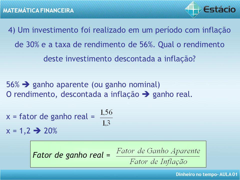 Dinheiro no tempo– AULA 01 MATEMÁTICA FINANCEIRA 4) Um investimento foi realizado em um período com inflação de 30% e a taxa de rendimento de 56%. Qua