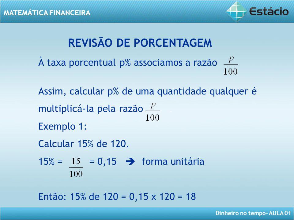 Dinheiro no tempo– AULA 01 MATEMÁTICA FINANCEIRA REVISÃO DE PORCENTAGEM À taxa porcentual p% associamos a razão Assim, calcular p% de uma quantidade q