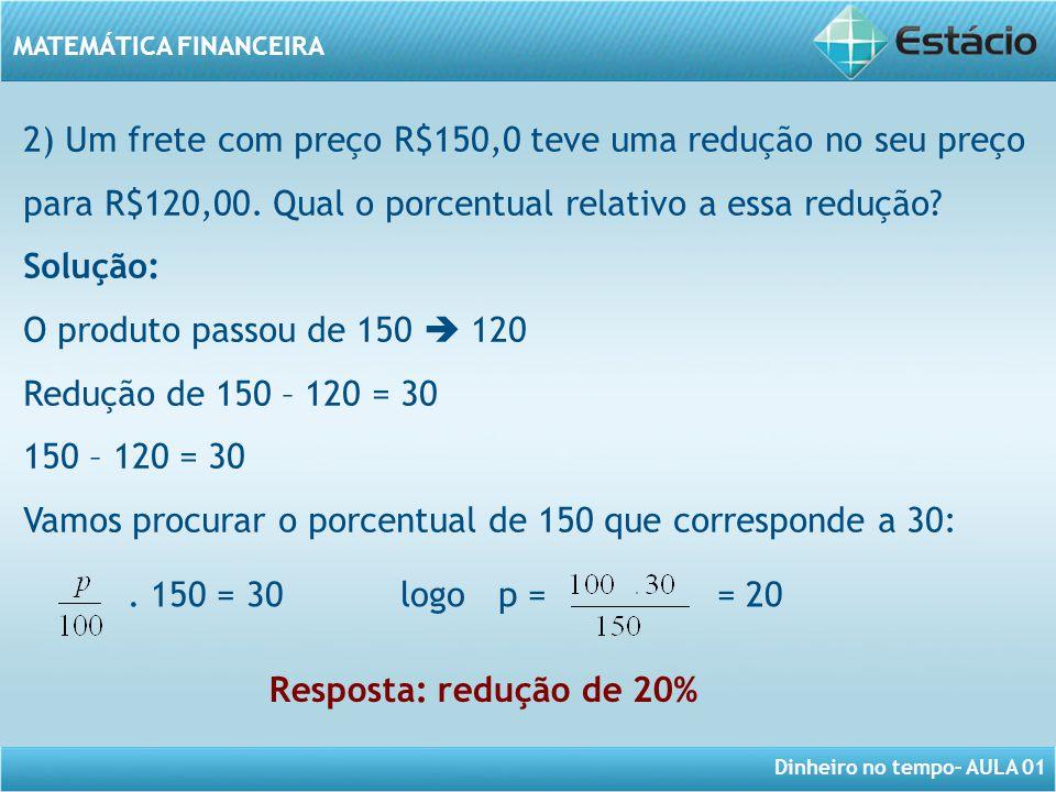 Dinheiro no tempo– AULA 01 MATEMÁTICA FINANCEIRA 2) Um frete com preço R$150,0 teve uma redução no seu preço para R$120,00. Qual o porcentual relativo
