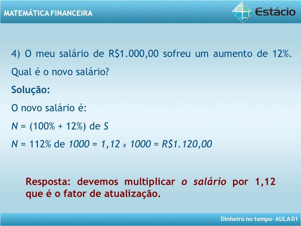 Dinheiro no tempo– AULA 01 MATEMÁTICA FINANCEIRA 4) O meu salário de R$1.000,00 sofreu um aumento de 12%. Qual é o novo salário? Solução: O novo salár
