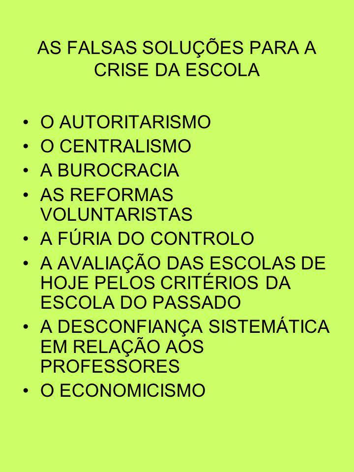 AS FALSAS SOLUÇÕES PARA A CRISE DA ESCOLA O AUTORITARISMO O CENTRALISMO A BUROCRACIA AS REFORMAS VOLUNTARISTAS A FÚRIA DO CONTROLO A AVALIAÇÃO DAS ESCOLAS DE HOJE PELOS CRITÉRIOS DA ESCOLA DO PASSADO A DESCONFIANÇA SISTEMÁTICA EM RELAÇÃO AOS PROFESSORES O ECONOMICISMO