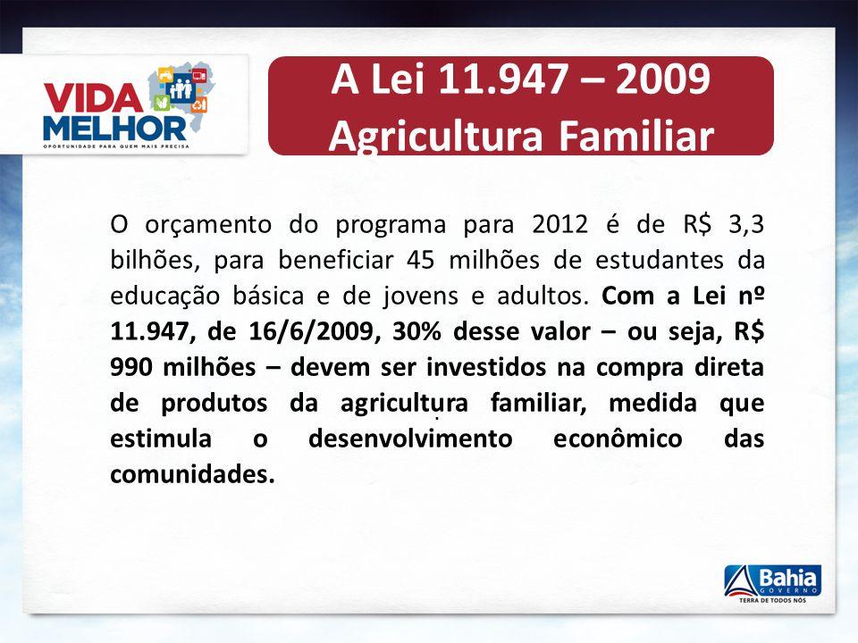 A Lei 11.947 – 2009 Agricultura Familiar O orçamento do programa para 2012 é de R$ 3,3 bilhões, para beneficiar 45 milhões de estudantes da educação básica e de jovens e adultos.