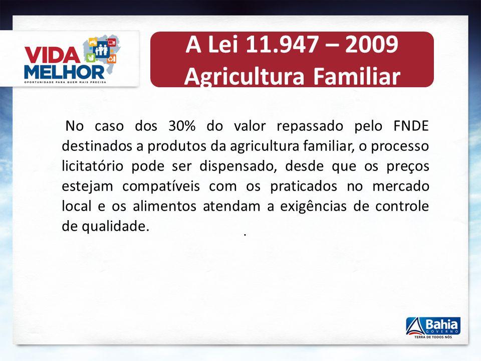 . A Lei 11.947 – 2009 Agricultura Familiar O orçamento do programa para 2012 é de R$ 3,3 bilhões, para beneficiar 45 milhões de estudantes da educação
