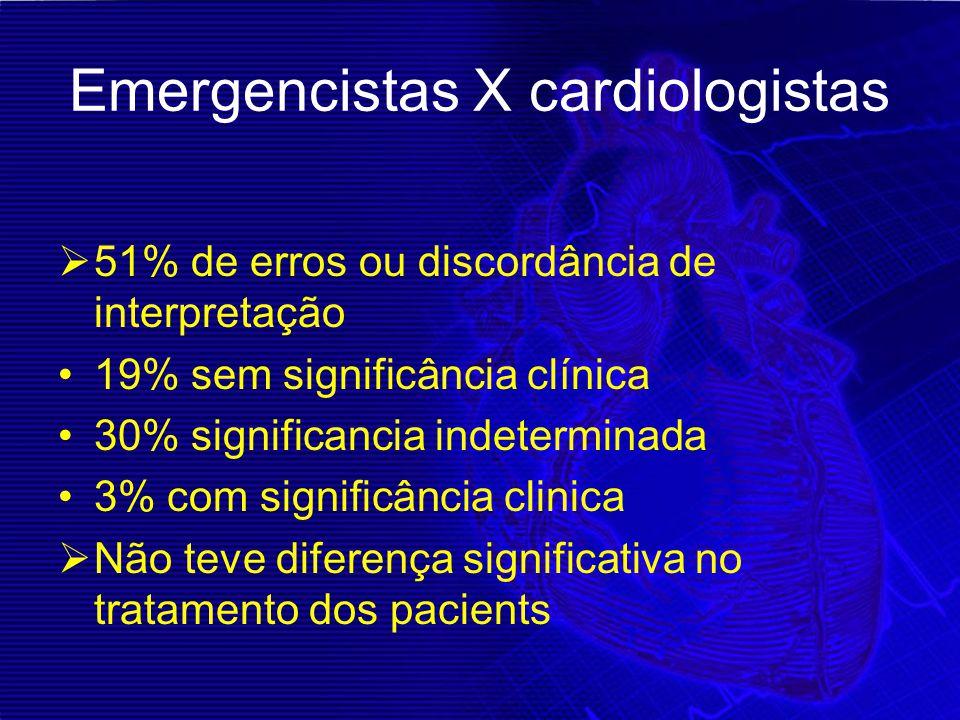 Emergencistas X cardiologistas  51% de erros ou discordância de interpretação 19% sem significância clínica 30% significancia indeterminada 3% com si