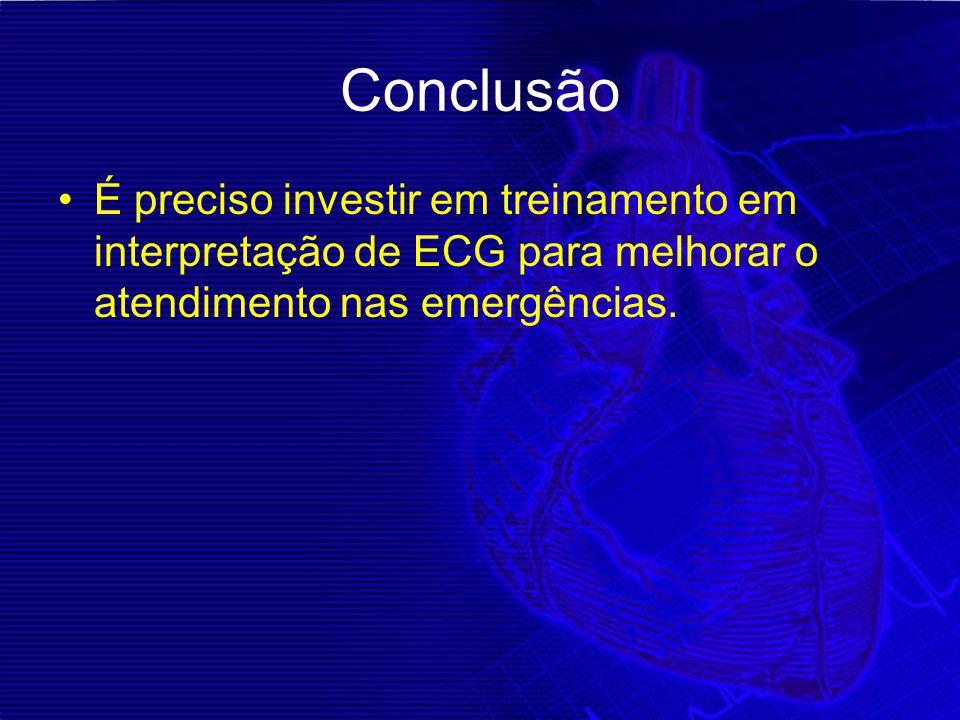 Conclusão É preciso investir em treinamento em interpretação de ECG para melhorar o atendimento nas emergências.