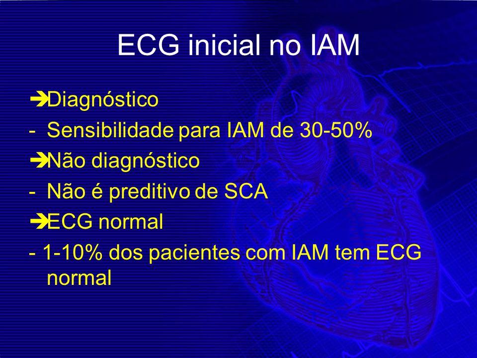 ECG inicial no IAM  Diagnóstico -Sensibilidade para IAM de 30-50%  Não diagnóstico -Não é preditivo de SCA  ECG normal - 1-10% dos pacientes com IA