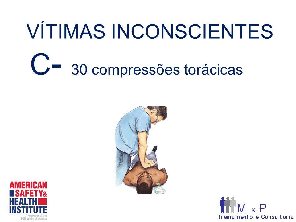 VÍTIMAS INCONSCIENTES C - 30 compressões torácicas