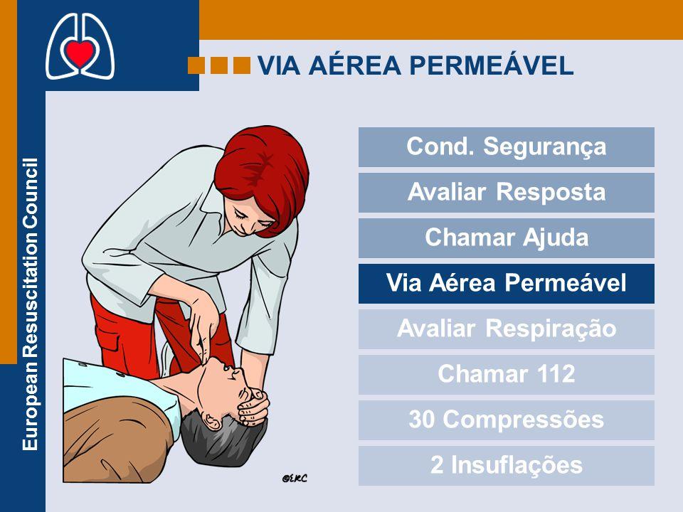 European Resuscitation Council VIA AÉREA PERMEÁVEL Cond. Segurança Avaliar Resposta Chamar Ajuda Via Aérea Permeável Avaliar Respiração Chamar 112 30