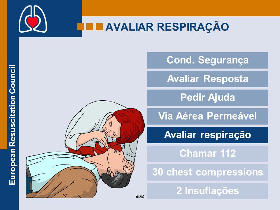 European Resuscitation Council AVALIAR RESPIRAÇÃO Cond. Segurança Avaliar Resposta Pedir Ajuda Via Aérea Permeável Avaliar respiração Chamar 112 30 ch