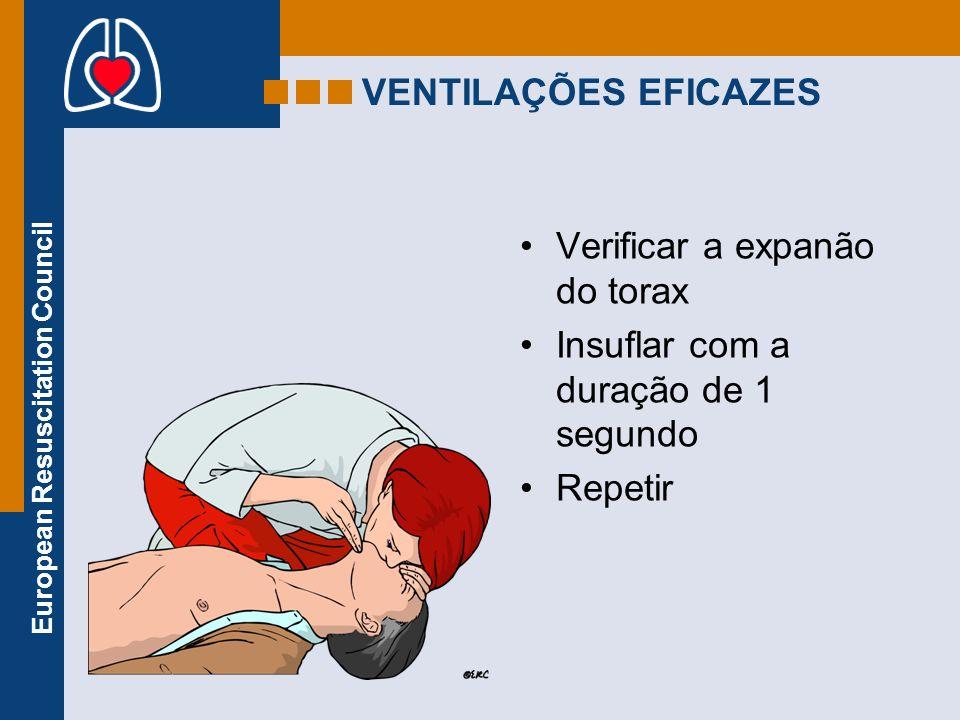 European Resuscitation Council VENTILAÇÕES EFICAZES Verificar a expanão do torax Insuflar com a duração de 1 segundo Repetir