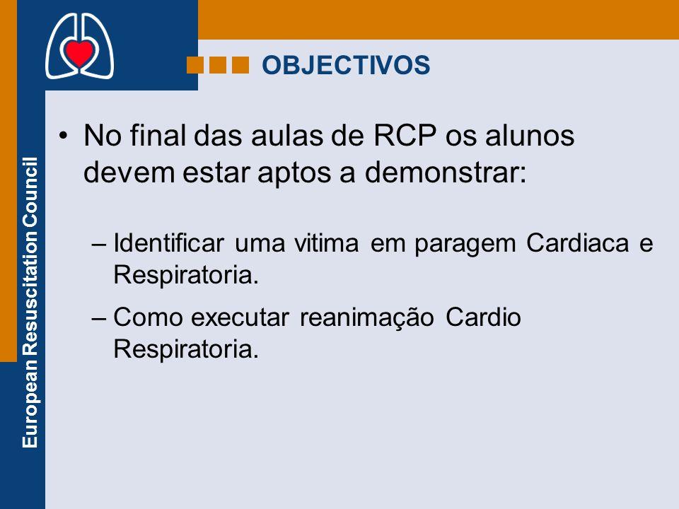 European Resuscitation Council OBJECTIVOS No final das aulas de RCP os alunos devem estar aptos a demonstrar: –Identificar uma vitima em paragem Cardi