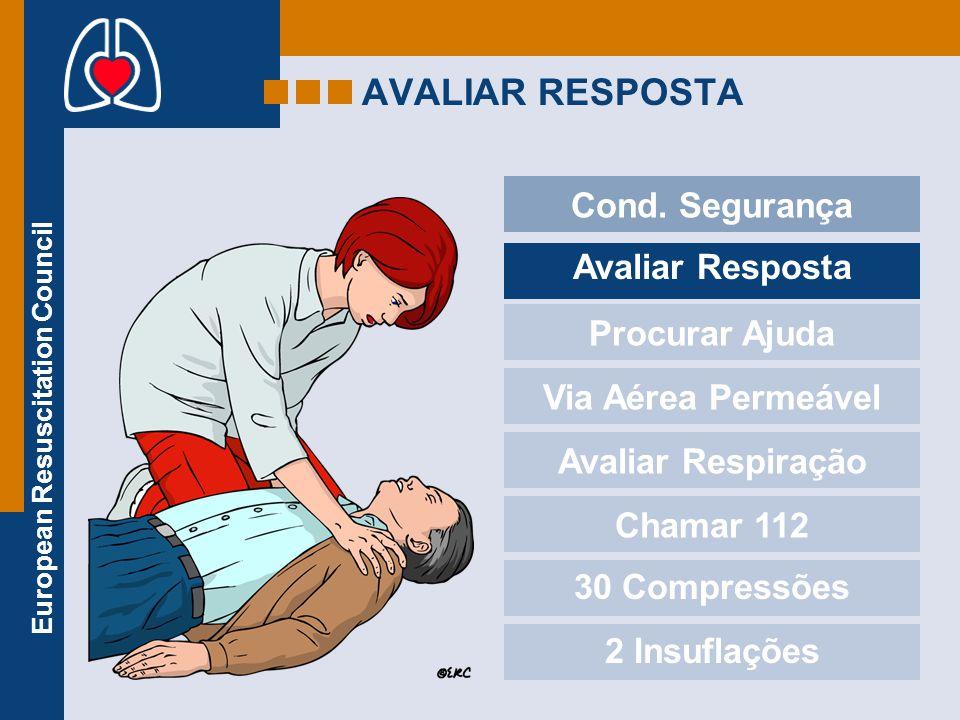 European Resuscitation Council AVALIAR RESPOSTA Cond. Segurança Avaliar Resposta Procurar Ajuda Via Aérea Permeável Avaliar Respiração Chamar 112 30 C