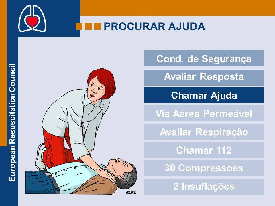 European Resuscitation Council PROCURAR AJUDA Cond. de Segurança Avaliar Resposta Chamar Ajuda Via Aérea Permeável Avaliar Respiração Chamar 112 30 Co
