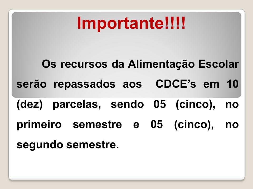 Importante!!!! Os recursos da Alimentação Escolar serão repassados aos CDCE's em 10 (dez) parcelas, sendo 05 (cinco), no primeiro semestre e 05 (cinco