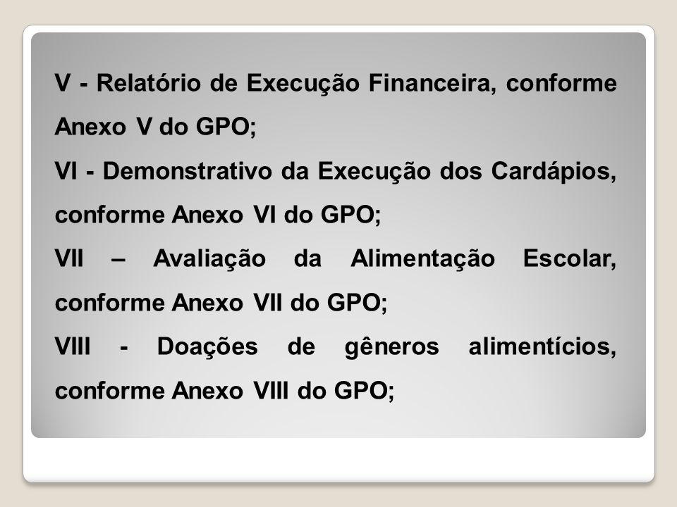 V - Relatório de Execução Financeira, conforme Anexo V do GPO; VI - Demonstrativo da Execução dos Cardápios, conforme Anexo VI do GPO; VII – Avaliação