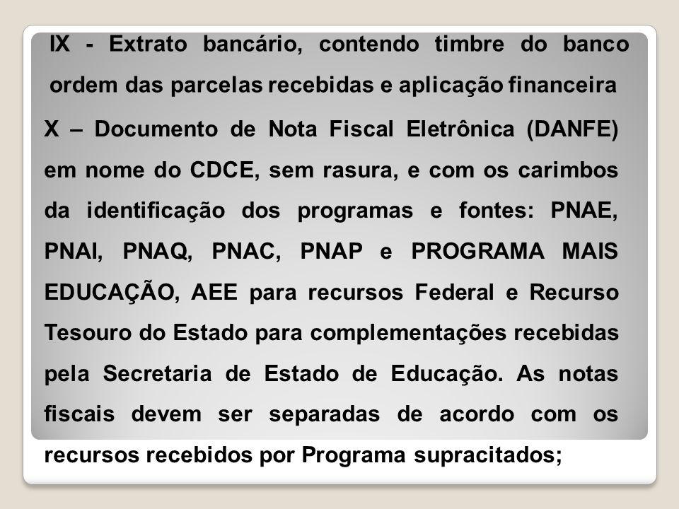 IX - Extrato bancário, contendo timbre do banco ordem das parcelas recebidas e aplicação financeira X – Documento de Nota Fiscal Eletrônica (DANFE) em