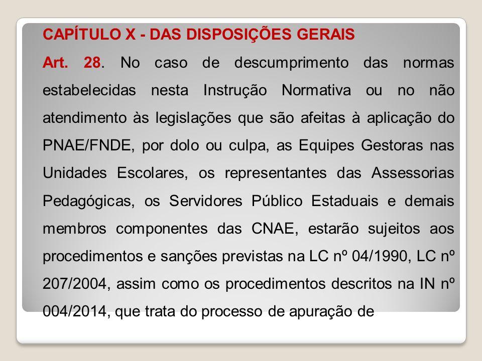 CAPÍTULO X - DAS DISPOSIÇÕES GERAIS Art. 28. No caso de descumprimento das normas estabelecidas nesta Instrução Normativa ou no não atendimento às leg