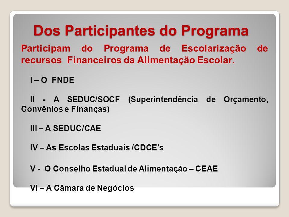 Dos Participantes do Programa Participam do Programa de Escolarização de recursos Financeiros da Alimentação Escolar. I – O FNDE II - A SEDUC/SOCF (Su