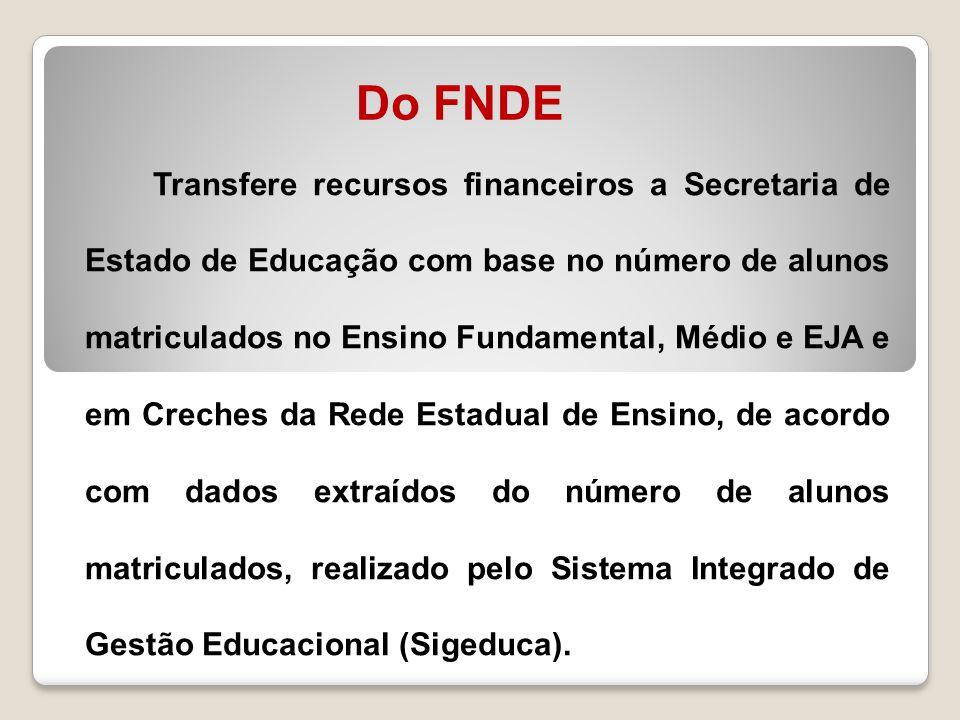 Do FNDE Transfere recursos financeiros a Secretaria de Estado de Educação com base no número de alunos matriculados no Ensino Fundamental, Médio e EJA