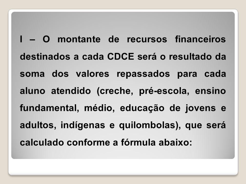 I – O montante de recursos financeiros destinados a cada CDCE será o resultado da soma dos valores repassados para cada aluno atendido (creche, pré-es