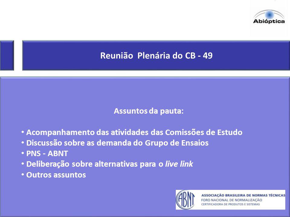 Reunião Plenária do CB - 49 Assuntos da pauta: Acompanhamento das atividades das Comissões de Estudo Discussão sobre as demanda do Grupo de Ensaios PN