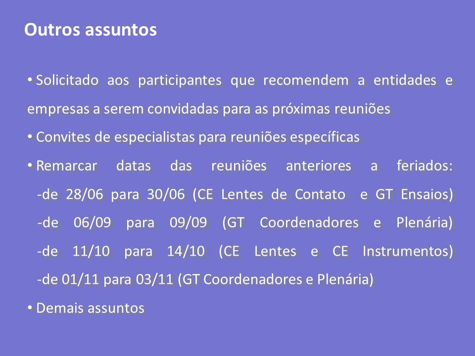Outros assuntos Solicitado aos participantes que recomendem a entidades e empresas a serem convidadas para as próximas reuniões Convites de especialis