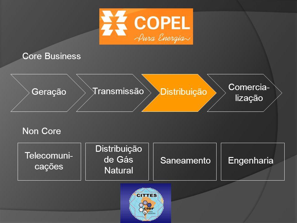 Core Business Geração Transmissão Distribuição Comercia- lização Non Core Telecomuni- cações Distribuição de Gás Natural SaneamentoEngenharia
