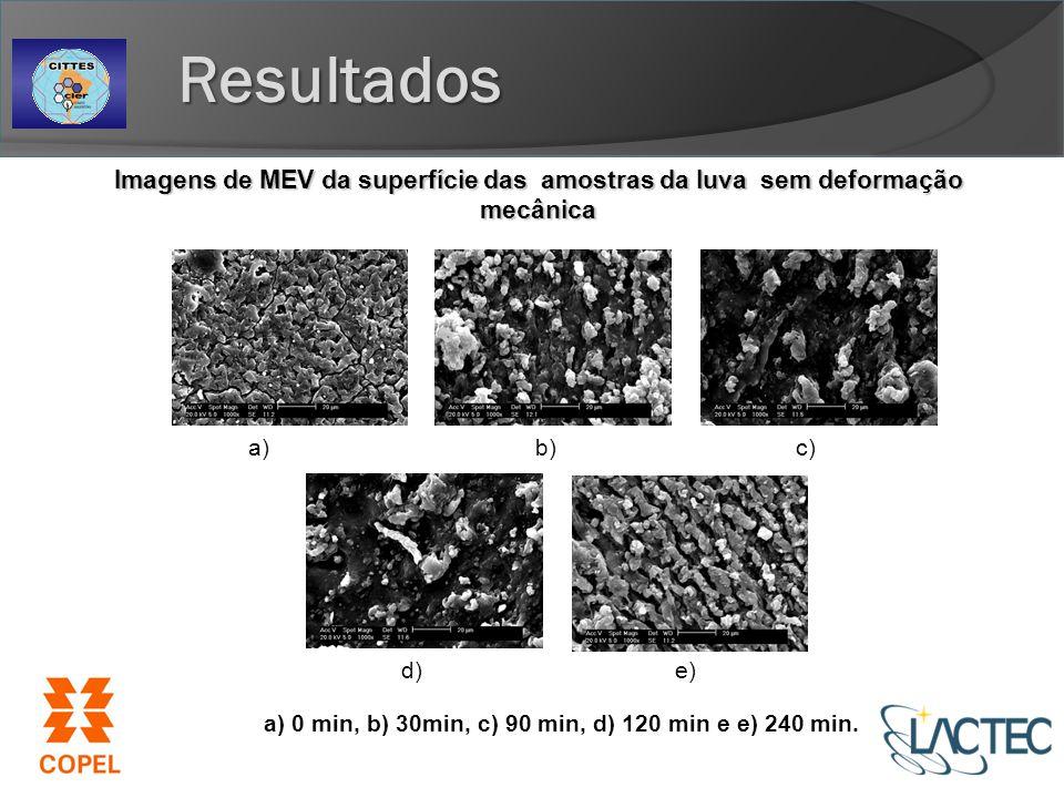 Imagens de MEV da superfície das amostras da luva sem deformação mecânica a) 0 min, b) 30min, c) 90 min, d) 120 min e e) 240 min.