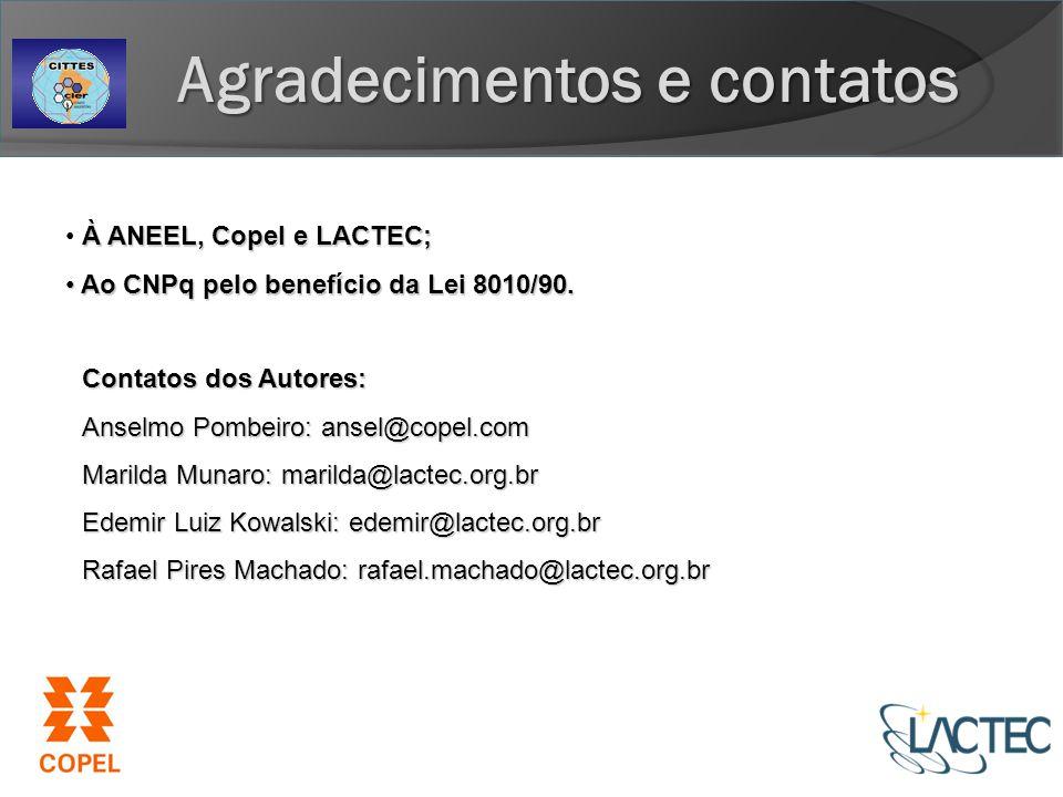 Agradecimentos e contatos À ANEEL, Copel e LACTEC; Ao CNPq pelo benefício da Lei 8010/90.