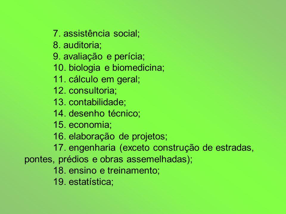 7. assistência social; 8. auditoria; 9. avaliação e perícia; 10.