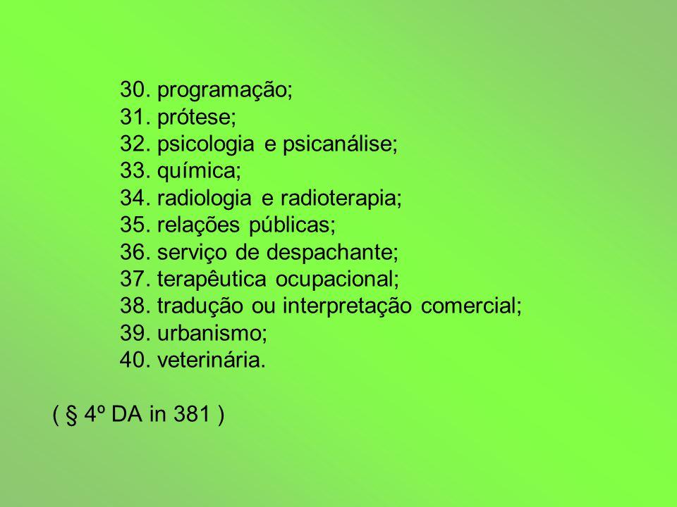 30. programação; 31. prótese; 32. psicologia e psicanálise; 33.