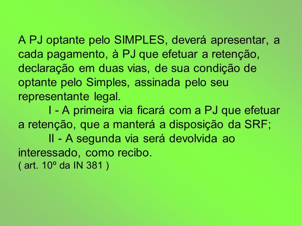 A PJ optante pelo SIMPLES, deverá apresentar, a cada pagamento, à PJ que efetuar a retenção, declaração em duas vias, de sua condição de optante pelo Simples, assinada pelo seu representante legal.